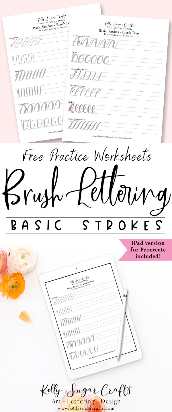 image about Brush Lettering Practice Sheets Printable referred to as Brush Lettering Prepare Uncomplicated Strokes Worksheets Kelly