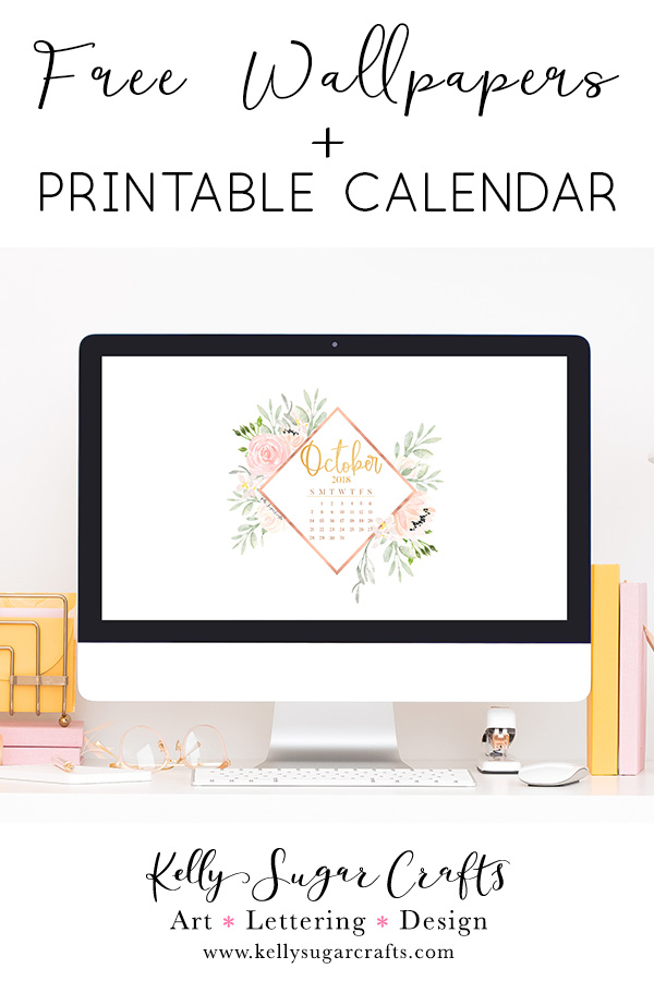 image about Printable Wallpapers known as Oct 2018 Calendar Wallpapers + Printable Kelly Sugar