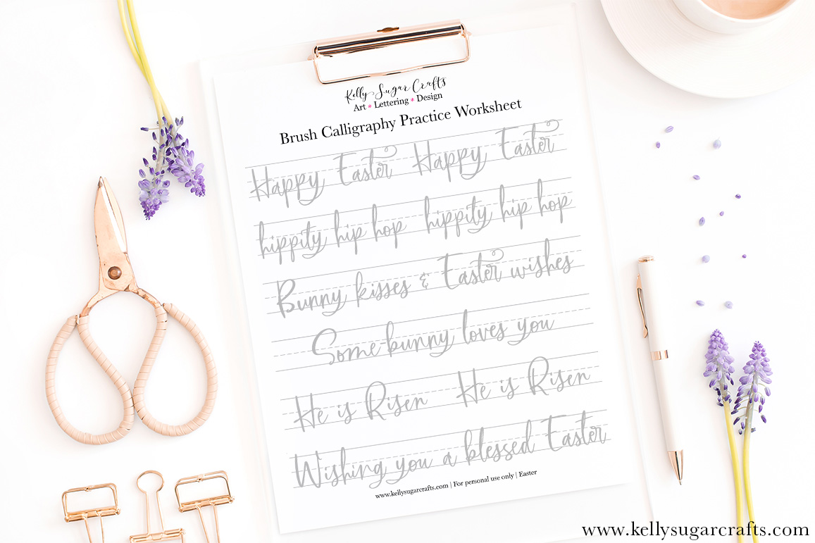 image regarding Brush Lettering Practice Sheets Printable identified as Lettering Teach Worksheets Archives Kelly Sugar Crafts