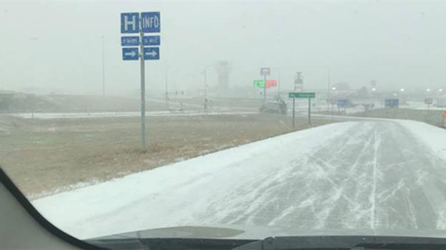 Light Snow Brings Slick Conditions Along I-90 In Central