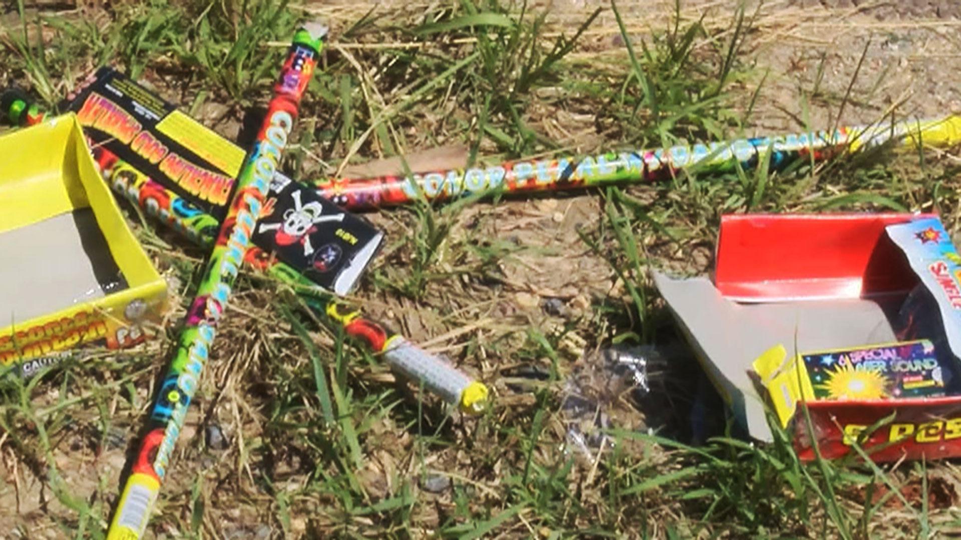 KELO fireworks trash rockets litter