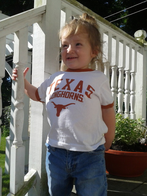Proud Rayleigh in her Texas shirt