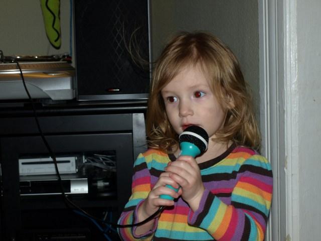 Rayleigh singing Karaoke.