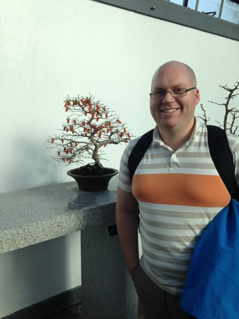Kevin with a Bonsai Tree in Montreal.