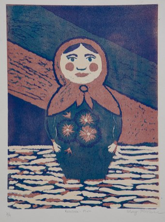 Babushka, plum - Relief reduction, 2011