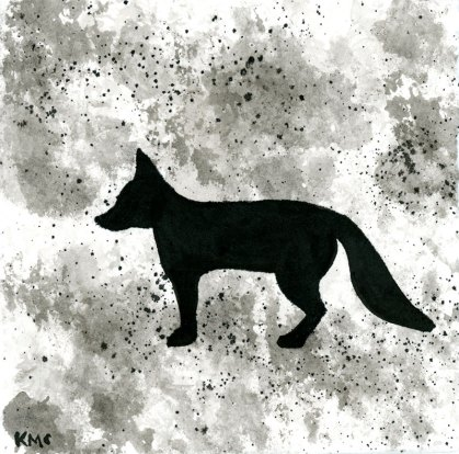 Fox - ink wash 5x5""