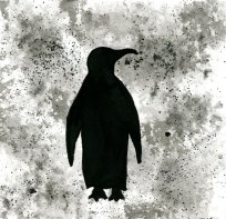 Penguin - ink wash 5x5""