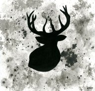 Elk - ink wash 5x5""