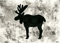 Moose - inkwash 4x6""