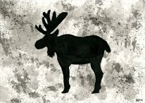 """Moose - inkwash 4x6"""""""