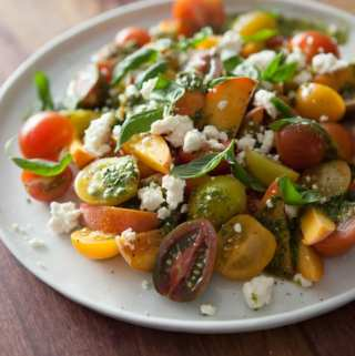 Peach Salad with Tomatoes, Feta, and Basil Vinaigrette
