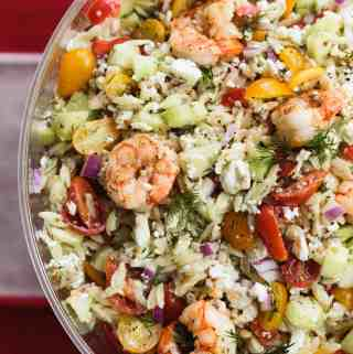 Greek Shrimp and Orzo Salad with Lemon Dijon Vinaigrette