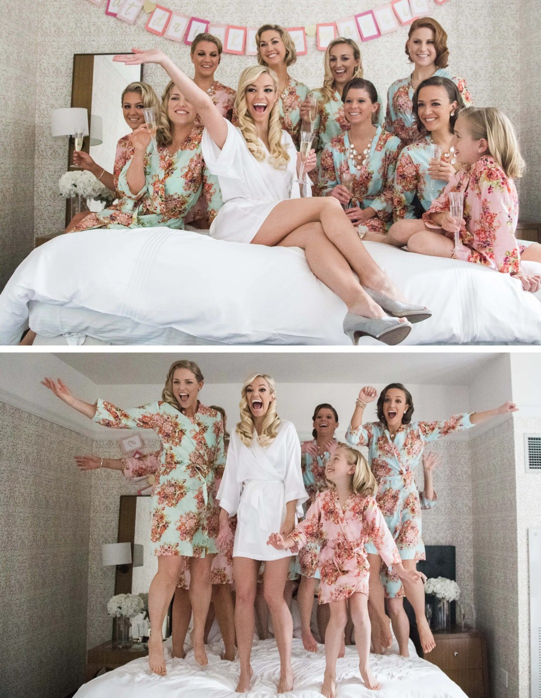 Bridal party jumping on the bed _ Brighton Wedding Photographer