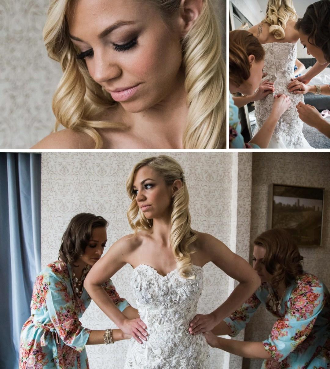 Bride getting ready in Chicago hotel _ Brighton Wedding Photographer