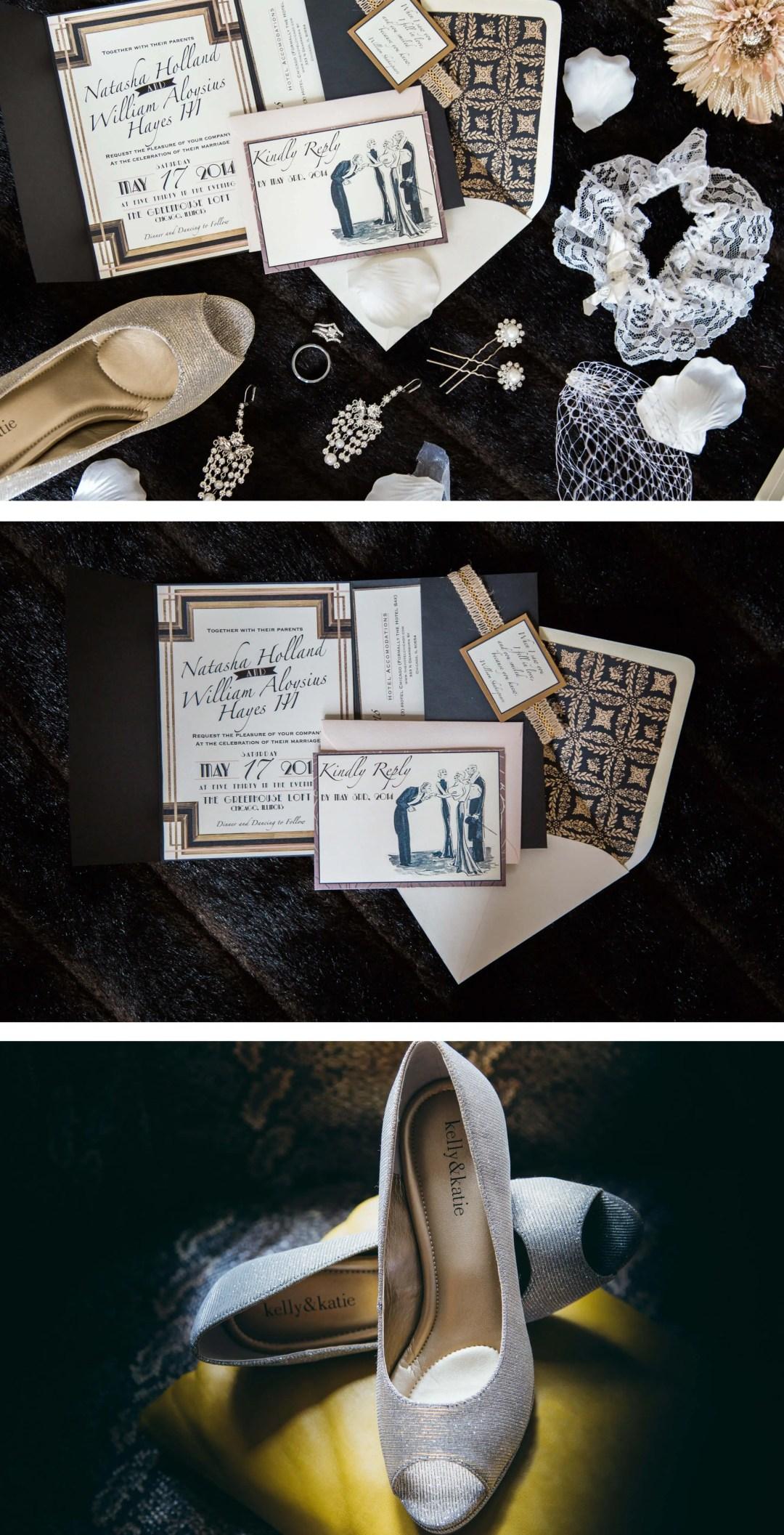 Gatsby Theme Wedding Invitation at Chicago Downtown Hotel _ Brighton Wedding International Photographer