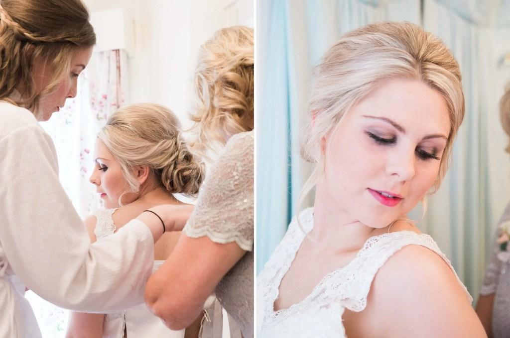 Cheshire Bride getting wedding gown on - Brighton wedding photographer