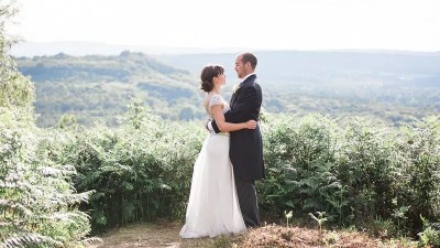Brighton and West Sussex Wedding photographer on South Downs with wedding couple