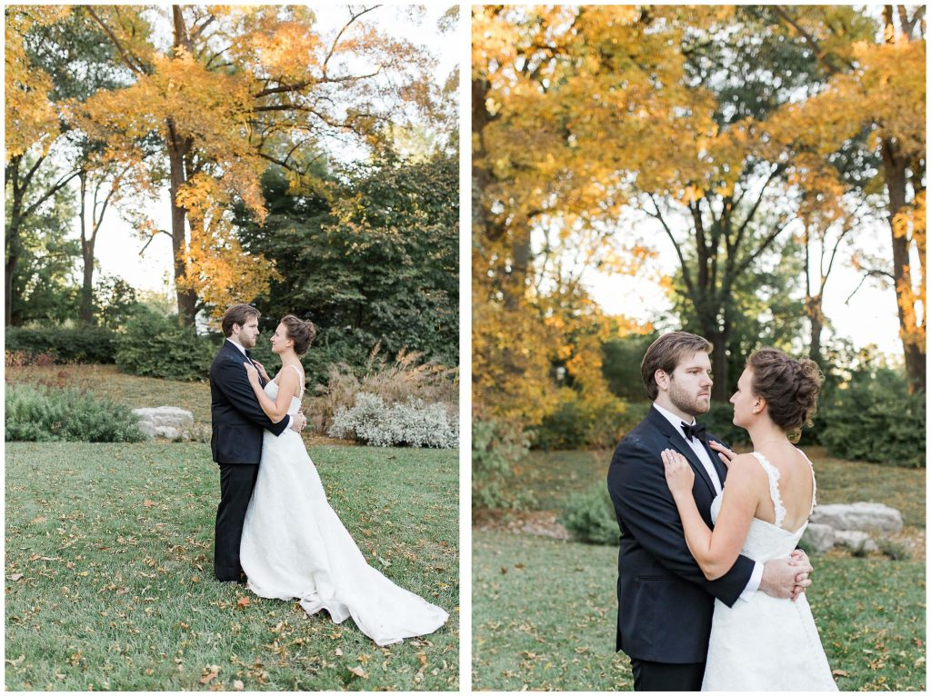 St. Louis Botanical Couples Portraits Under Fall Trees - Brighton International Wedding Photographer