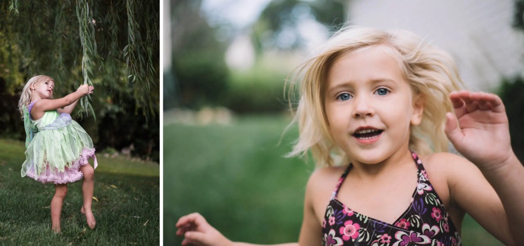 Family documentary photography of girl playing outside