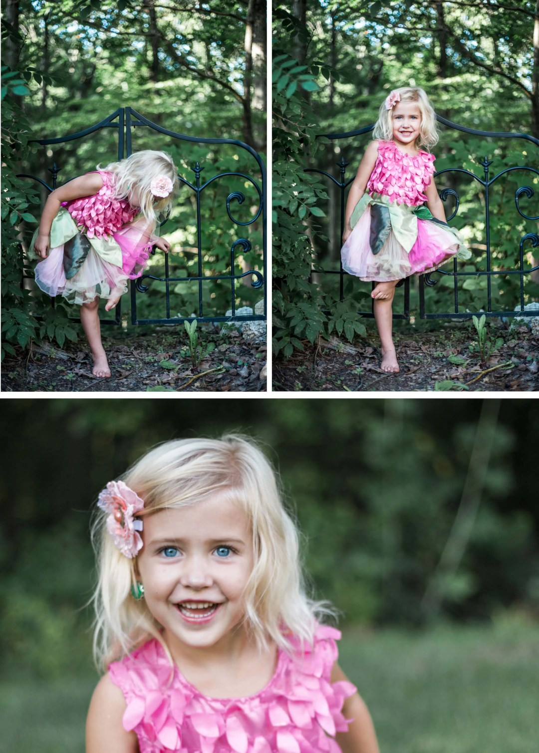 Girl dressed as fairy doing ballet during family photography