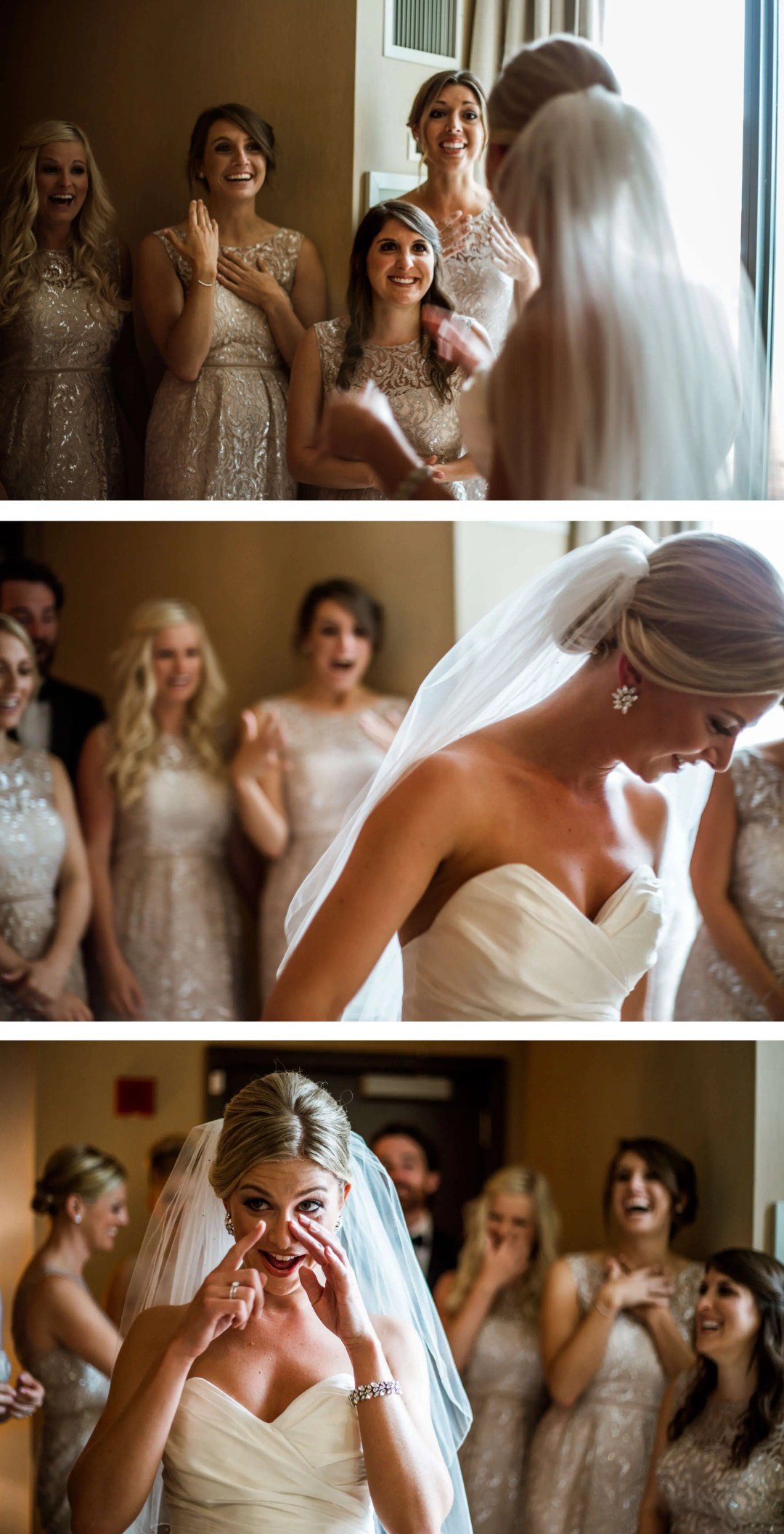 Bride first look with bridal party at Palomar Hotel - Wedding Photographer Sussex