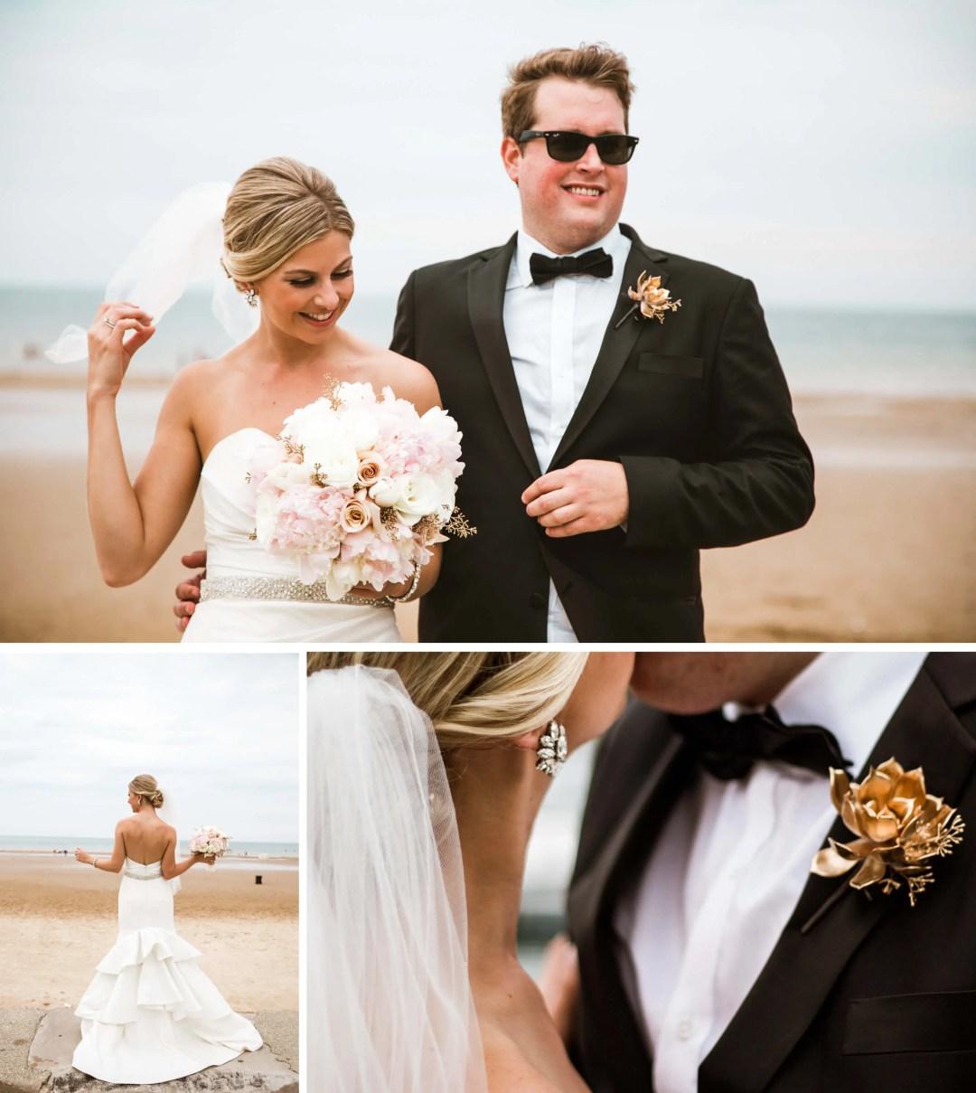 Chicago beach wedding portraits - Sussex Wedding Photographer