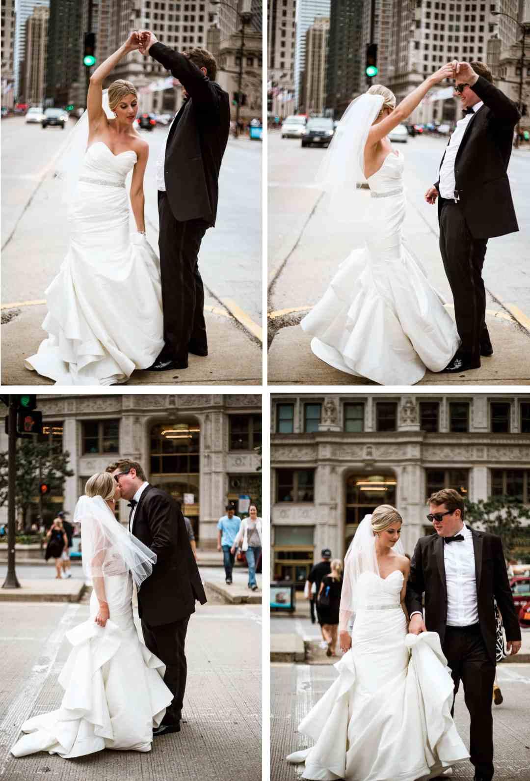 Downtown Chicago wedding portraits - West Sussex Wedding Photographer
