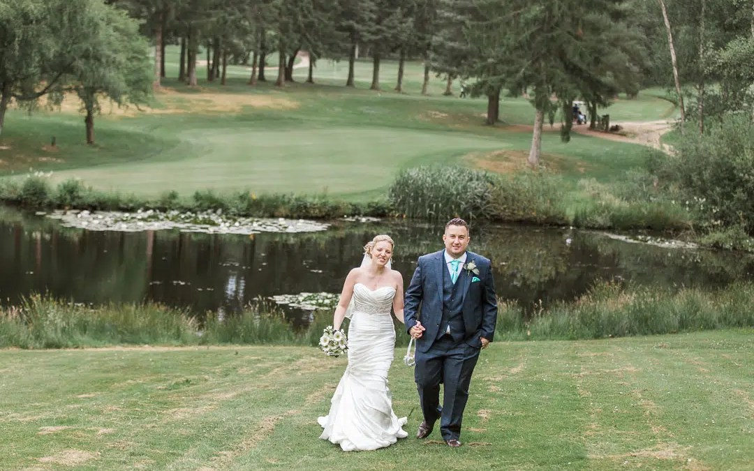 Cottesmore Patridge Green Couple on Golf Course West Sussex Wedding