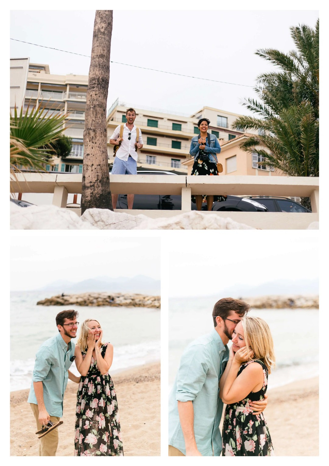 French Riviera Cannes Suprise Proposal Engagement Photographer