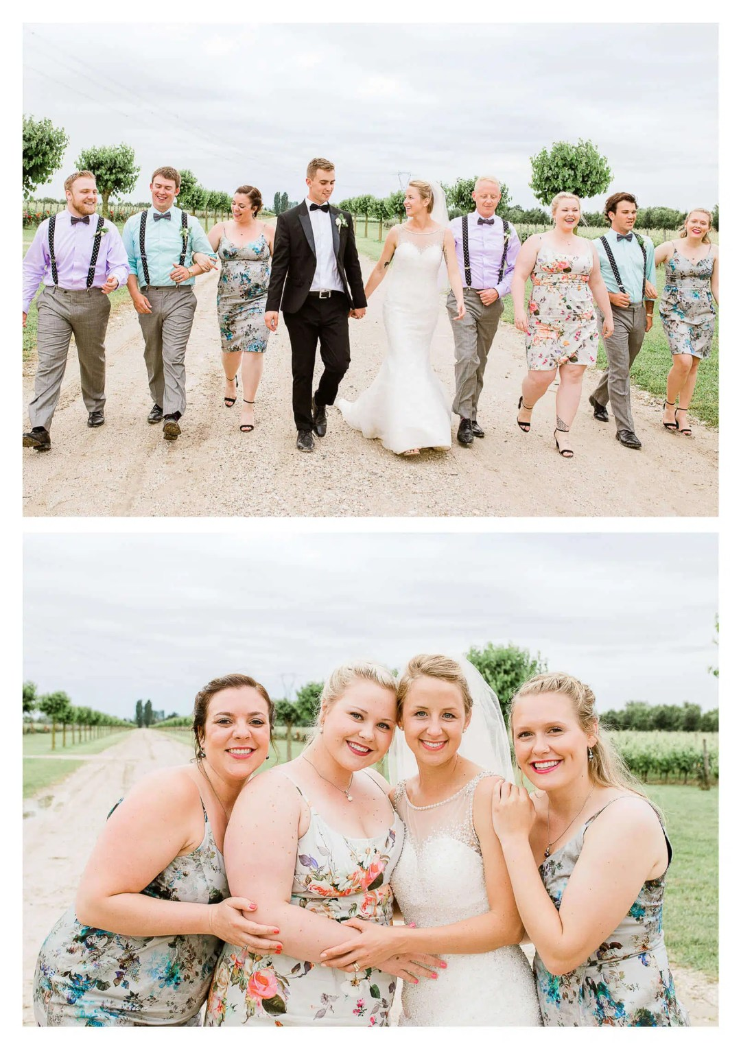 Bridal party portrait in vineyard | Italy destination photographer
