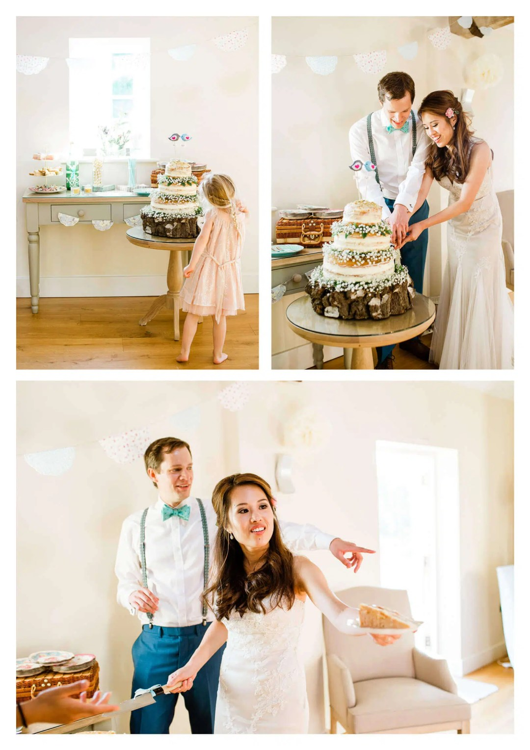Finchcocks Oast wedding cake cutting made by groom | Kent wedding photographer
