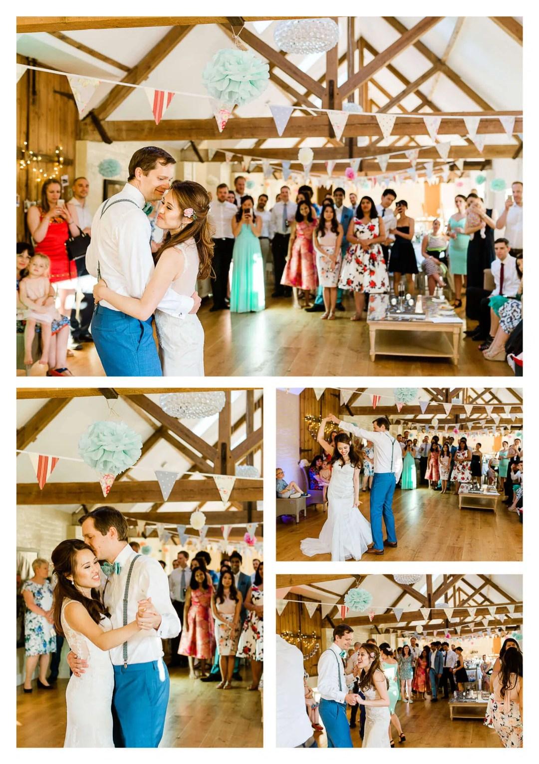 Finchcocks Oast wedding first dance   Kent wedding photographer