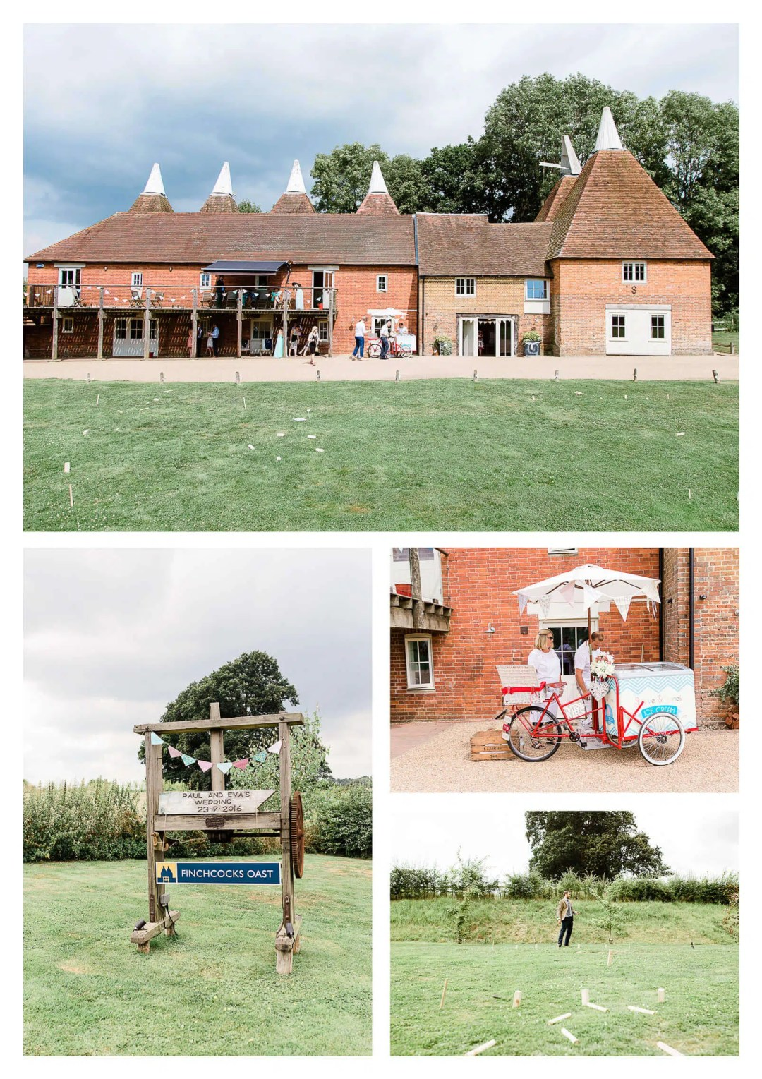 Finchcocks Oast wedding venue with icecream and outdoor games | Kent wedding photographer