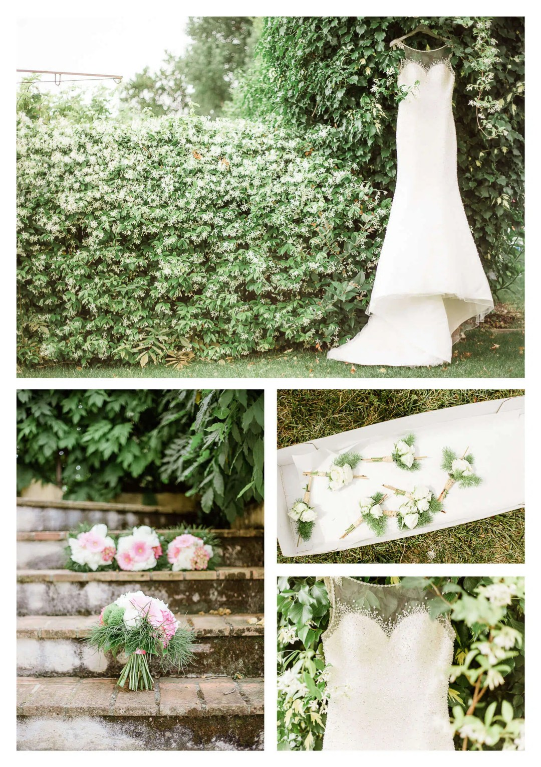 Wedding bouquet with grass and beaded wedding gown | Italy destination photographer