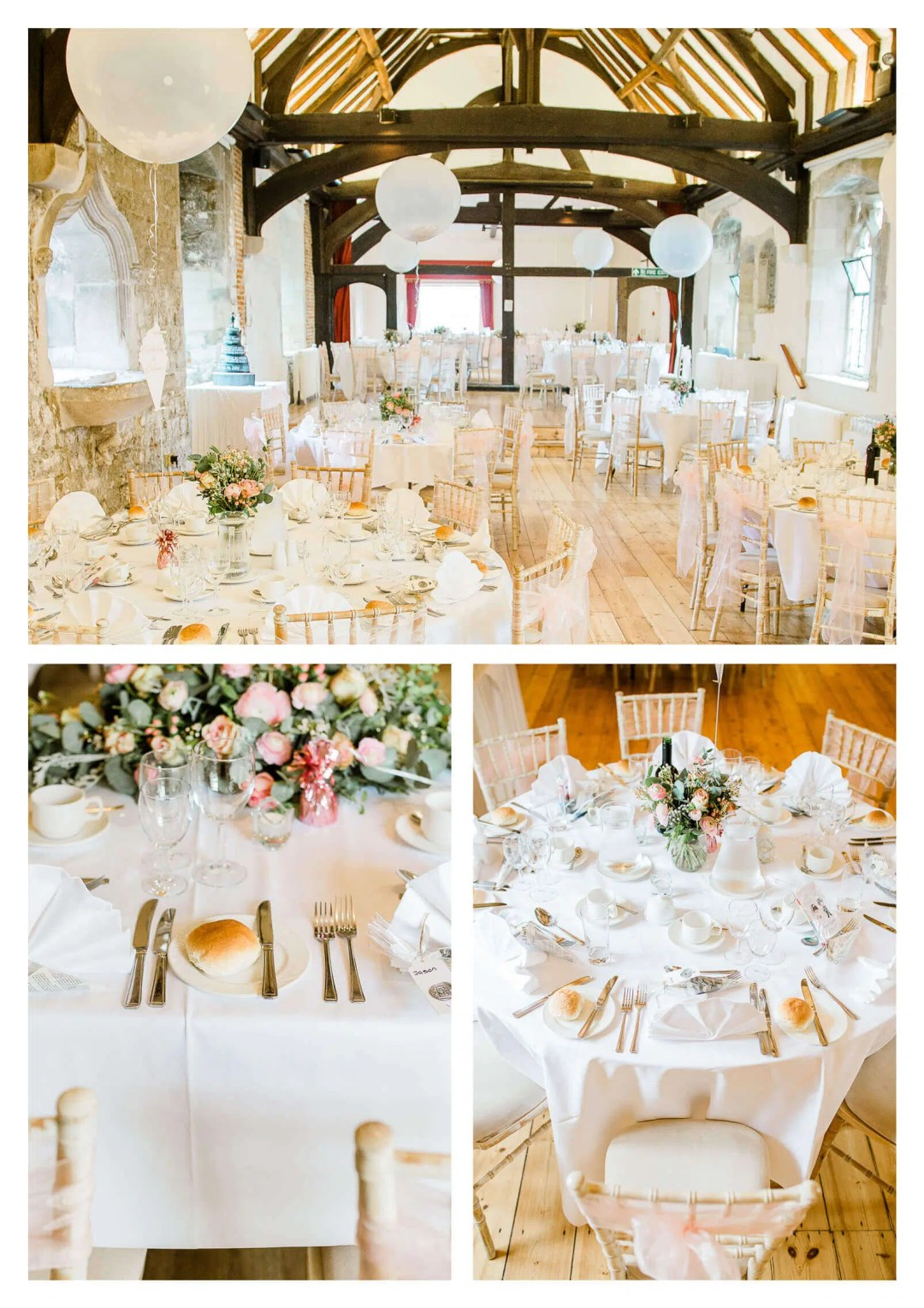 Chichester Cathedral venue wedding breakfast decor | West Sussex photographer