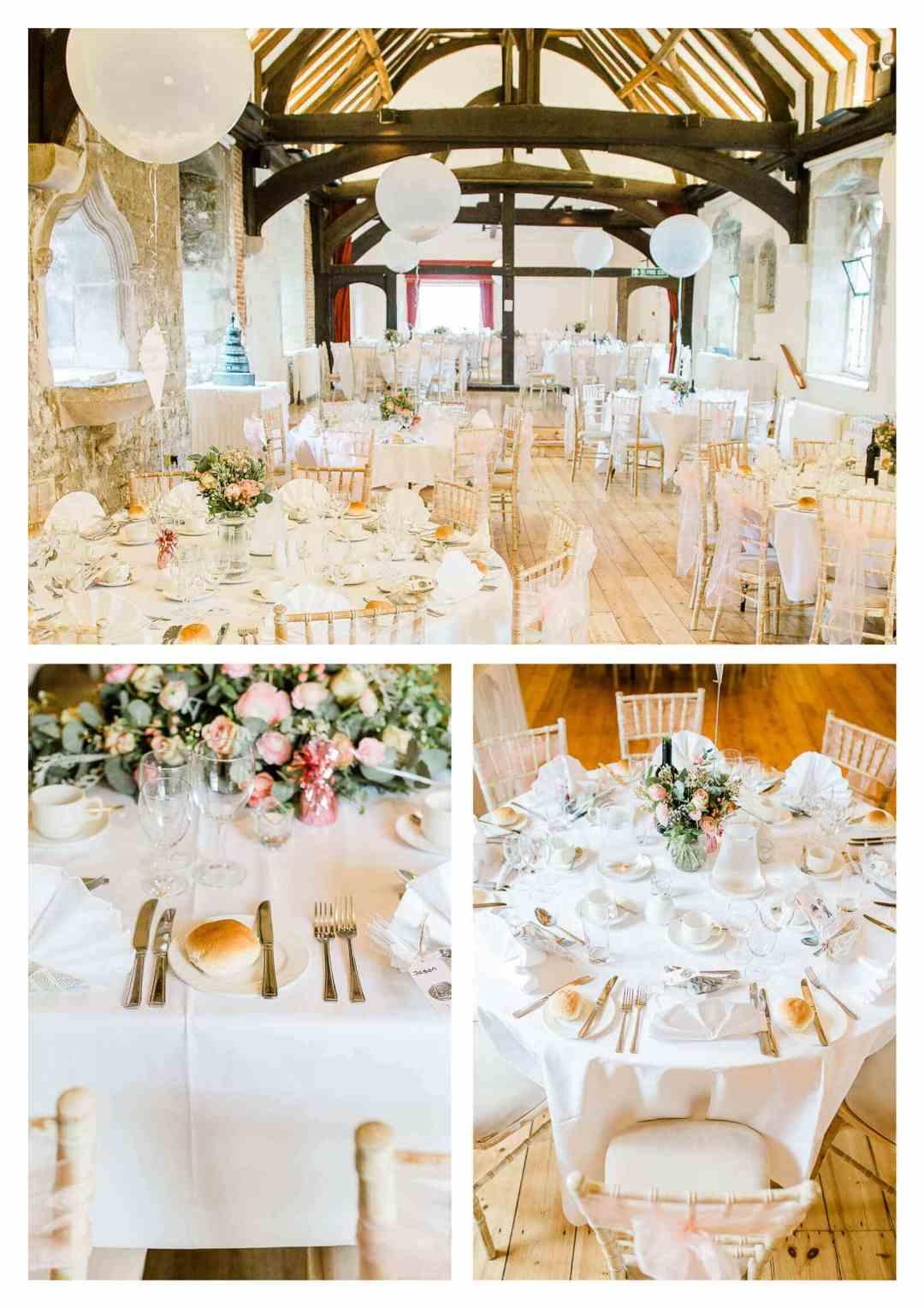 Chichester Cathedral venue wedding breakfast decor | West Sussex photographer