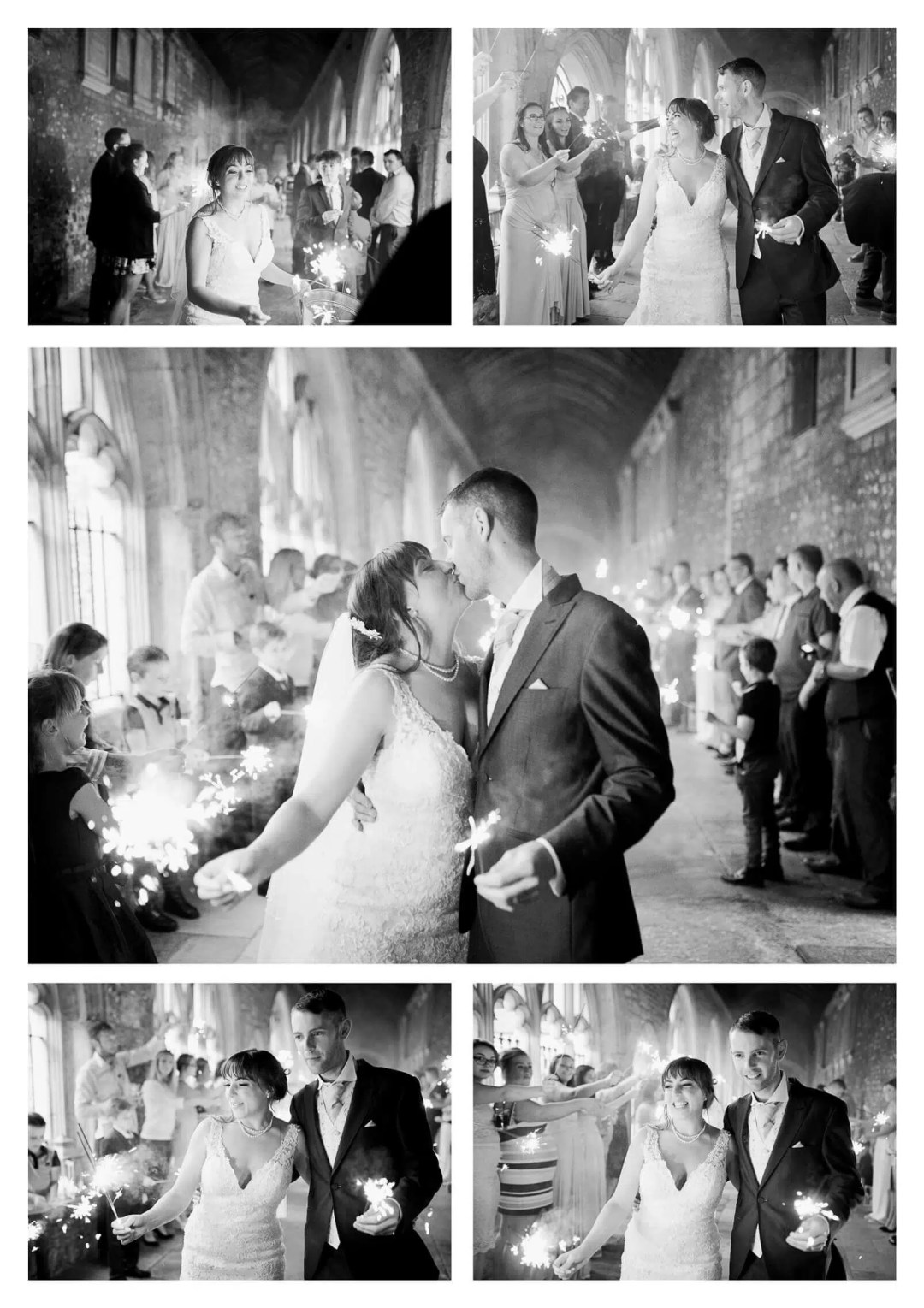 Sparkler exit at Chichester Catherdal | West Sussex wedding photographer