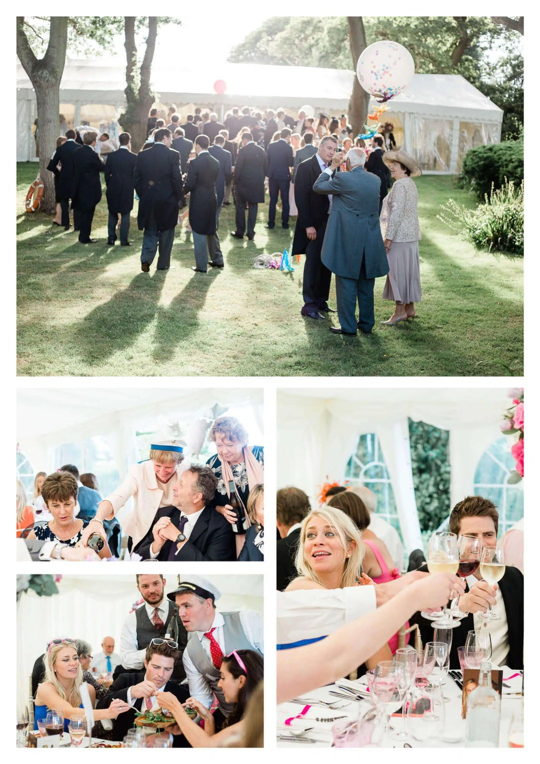 West Sussex Marquee wedding guests serve food | West Itchenor wedding photographer