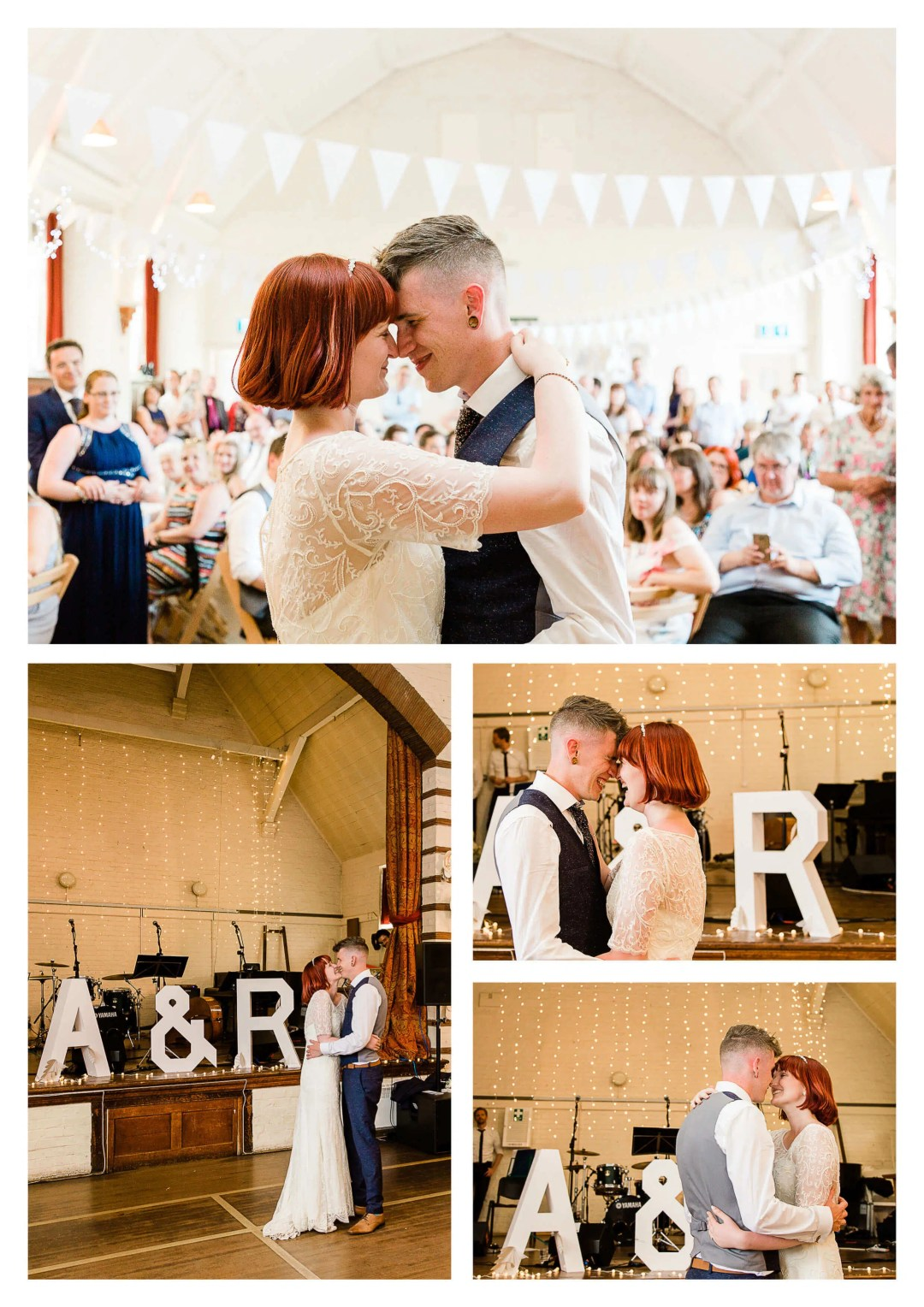 Worplesdon Memorial Hall first dance with fairy lights | Guildford Wedding Photographer