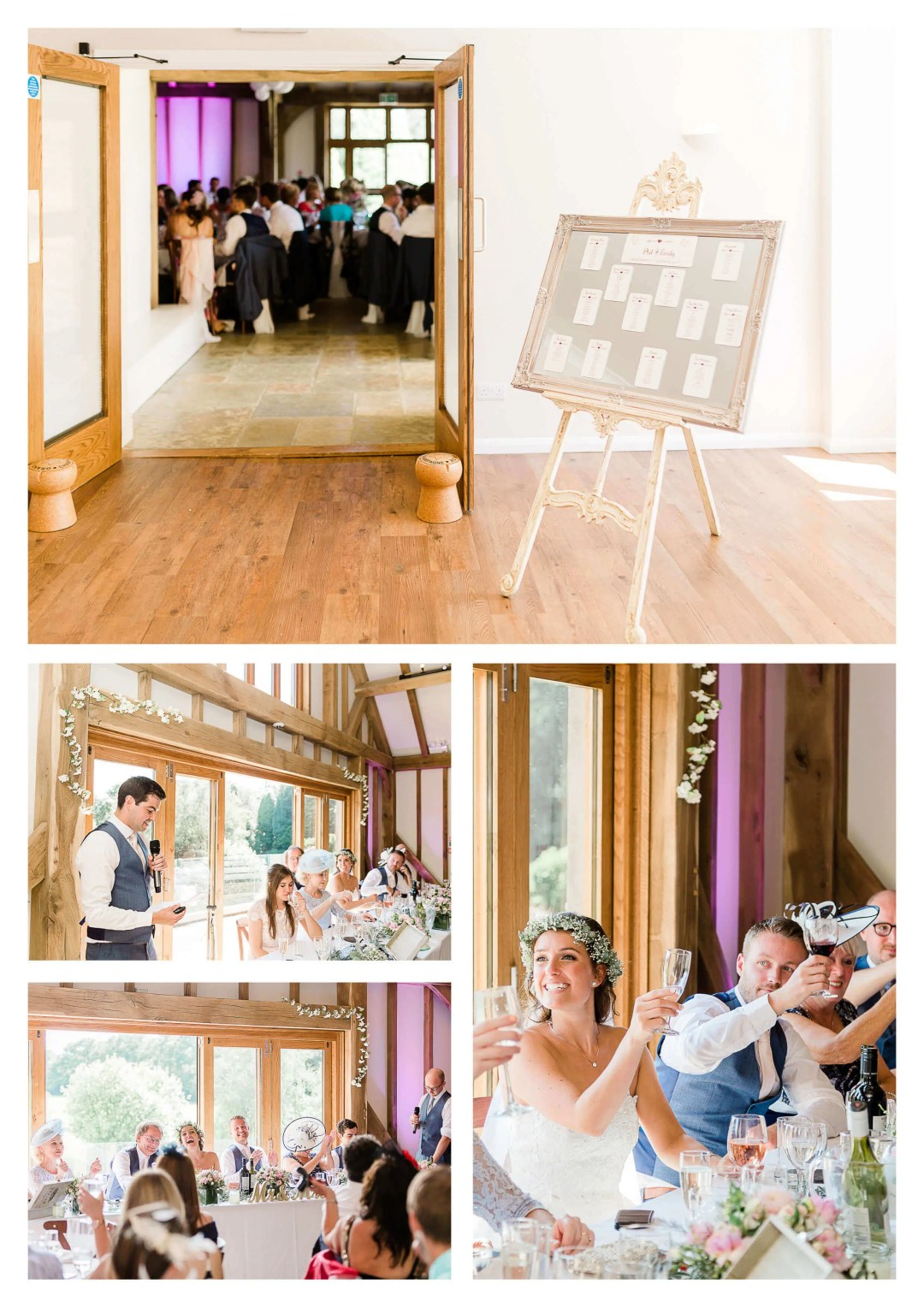 Brookfield Barn wedding photography of wedding breakfast toasts