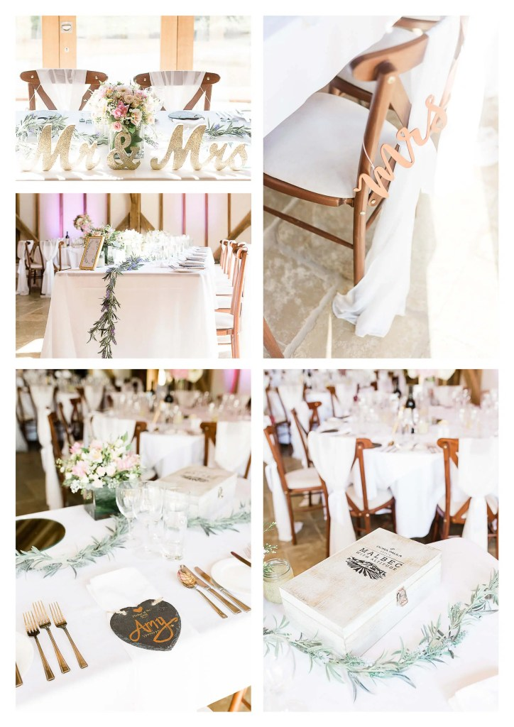 Brookfield Barn wedding photos Wedding breakfast top table decorations