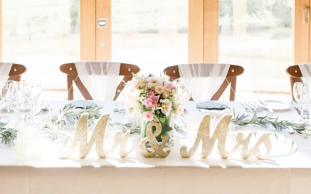 Brookfield Barn wedding photos barn decorations head table | Horsham wedding photographer