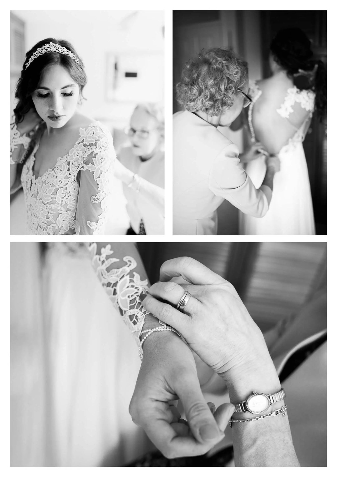 Mum helping bride get ready in Lillian West boho dress | Buxted Park Hotel Wedding Photography
