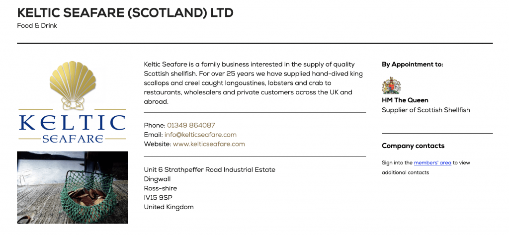 Keltic Seafare Royal Warrant Holders