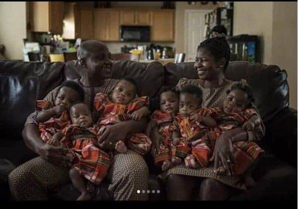 Nigerian couple who gave birth to sextuplets in US show off their babies