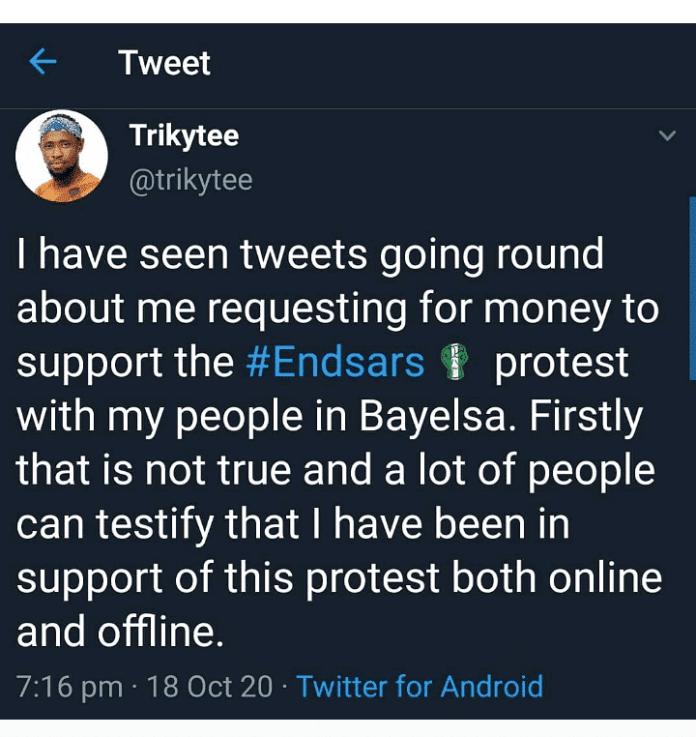 Ex BBNaija Housemate,Trikytee accused of demanding 500k to join #ENDSARS protest 2