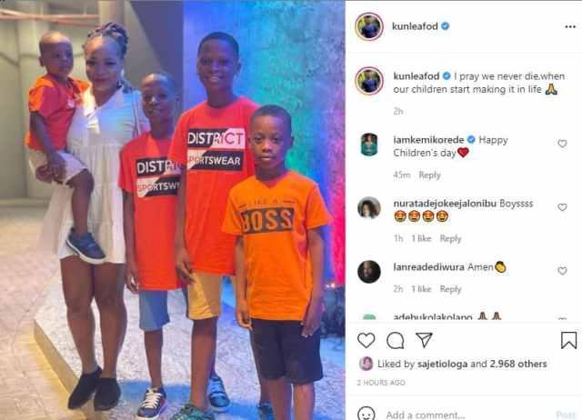 Kunle Afod celebrates his children