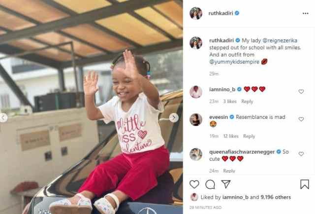 Ruth Kadiri shares photo of daughter