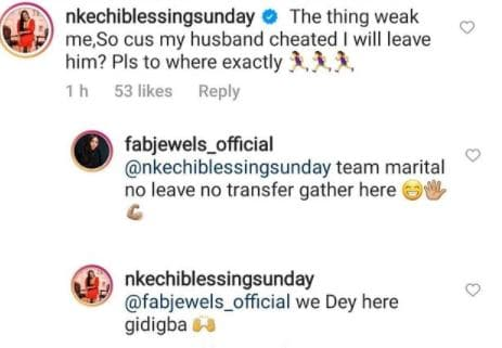 Nkechi Blessing and cheating