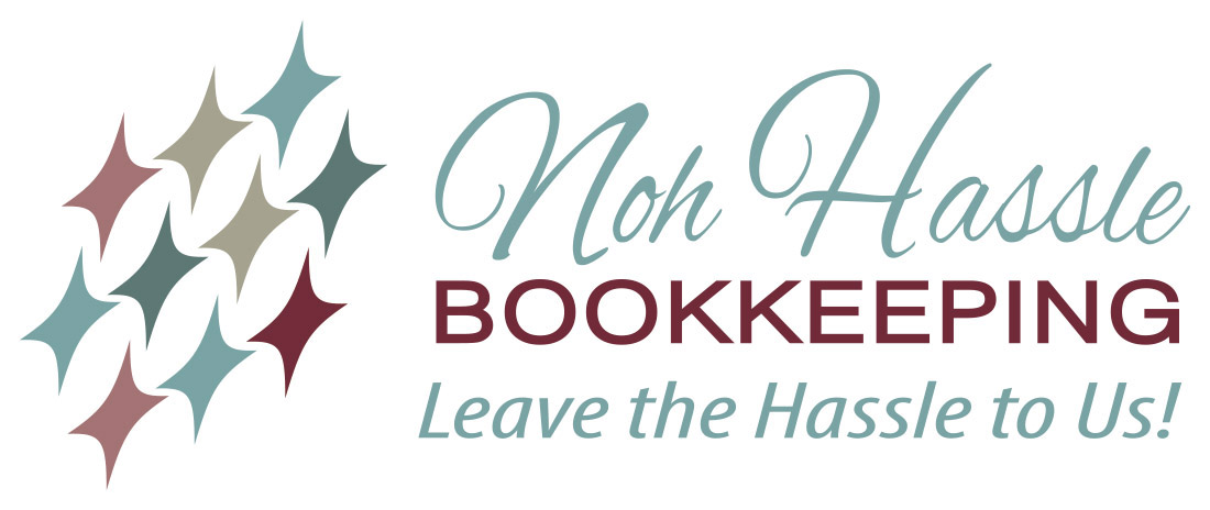 Noh Hassle Bookkeeping logo tagline leave the Hassle to Us. Logo Designer Kemp Design Services. Abstract accountant logo,